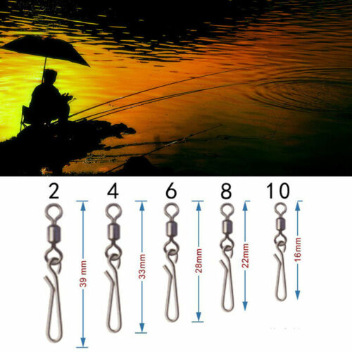 50pcs Rolling swivel with hanging snap fishing tackle connector Tackle fish B1W7