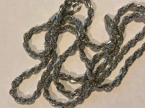 """Men/'s Solid 925 Sterling Silver Rope Chain 3mm 4mm 5mm 20-30/"""" ITALY *WHOLESALE*"""