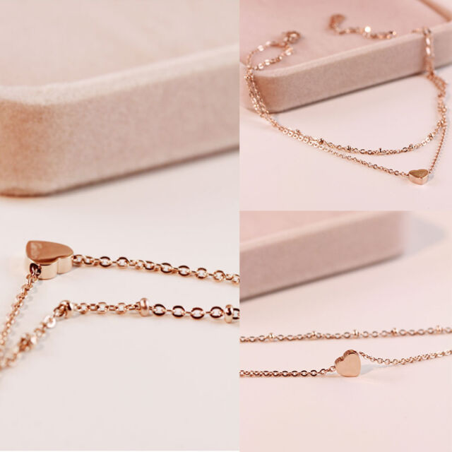 1 Pcs Lady Gold Sexy Foot Anklet Double Layer Chain Love Heart Ankle Bracelet