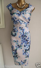 MONSOON ILKA BLUE GREEN SILVER FLORAL SUMMER SHIFT WEDDING OCCASION DRESS 18