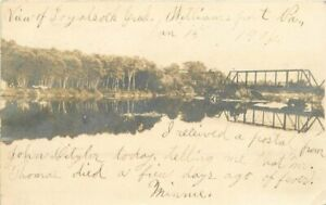 1908-Williamsport-Pennsylvania-RPPC-Photo-Postcard-Truss-Girder-Bridge-5631