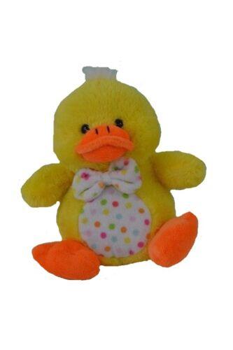 "Easter Basket Kellytoy Yellow Duck w Rainbow Dots Tie /& Belly Soft Plush 7.5/"""