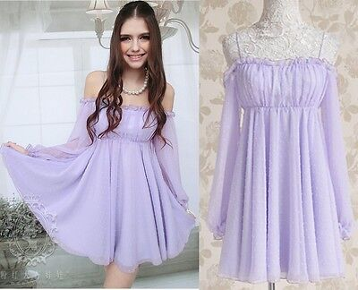 Kawaii Fashion Dolly sweet Cute Princess Chiffon Long Sleeve Sexy Dress Purple