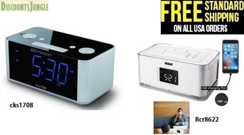 Emerson CKS1708 Smart automatic time setting Alarm Clock Radio /& RCA RCR8622 new