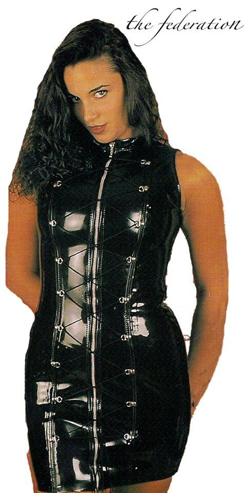THE FEDERATION PVC WET LOOK ZIP  D,RING STUDDED DRESS ALL GrößeS MADE