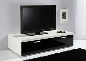 ModaNuvo Low TV Unit, TV Cabinet, TV Stand Off White & Black High ...