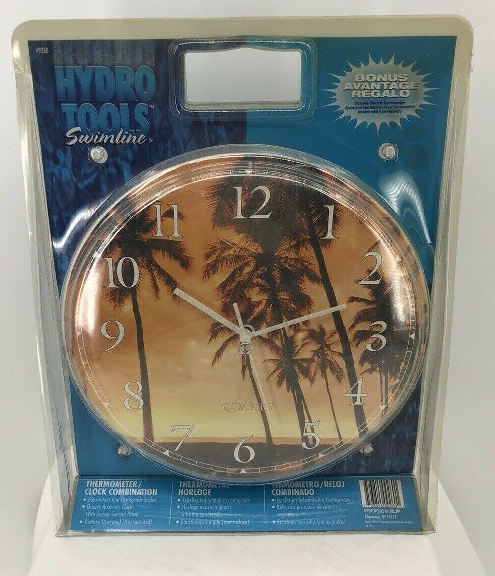 Tropical Thermometer and Clock Combination for Outside Patio Pool Area Swimline