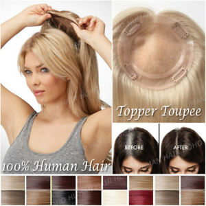 Clip-In-130-Remy-Human-Hair-Hairpiece-Top-Piece-Toupee-Extensions-Topper-Women
