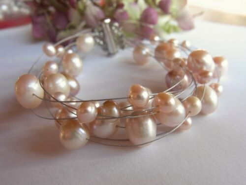 Joyas-unid pulsera agua dulce perla Rose nuevo