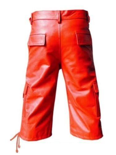 MENS GENUINE REAL Black AND RED LEATHER COMBAT CARGO SHORTS Lederhosen