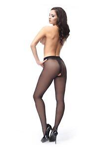Negro-XL-Blanco-o-Color-Carne-Entrepierna-Abierta-40-Denier-Transparente-Lujo