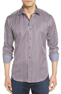 NWT-Bugatchi-Shaped-Fit-Stripe-Sport-Shirt-NWT-S