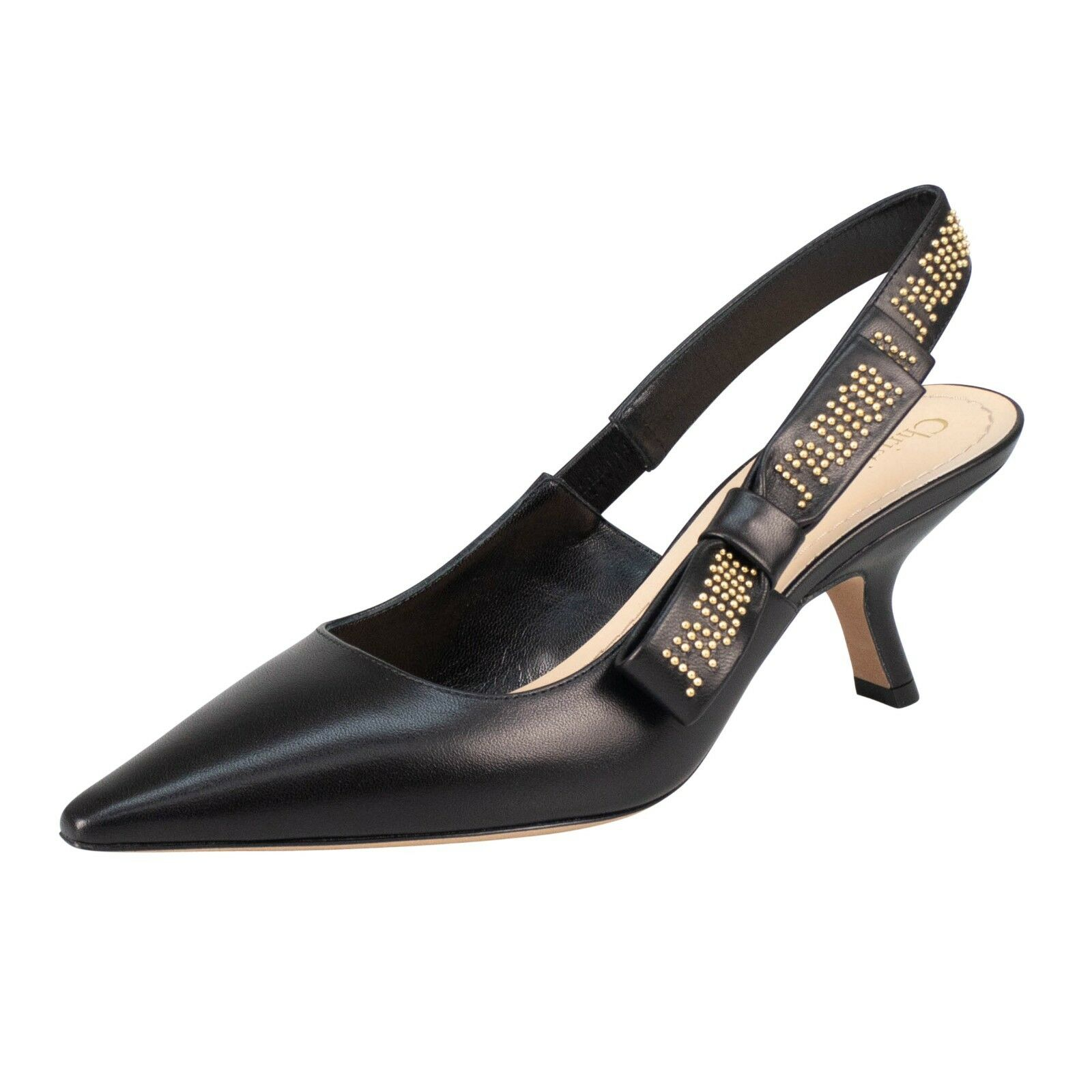 NIB CHRISTIAN DIOR Black And gold J'ADIOR Leather Slingback Pumps shoes 6.5 36.5