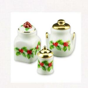 DOLLHOUSE-Christmas-Holly-3-Jar-Canister-Set-1-870-8-Reutter-Miniature
