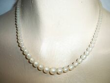 Vintage Dainty White Moonglow Necklace with Sterling Silver Fish Hook Clasp