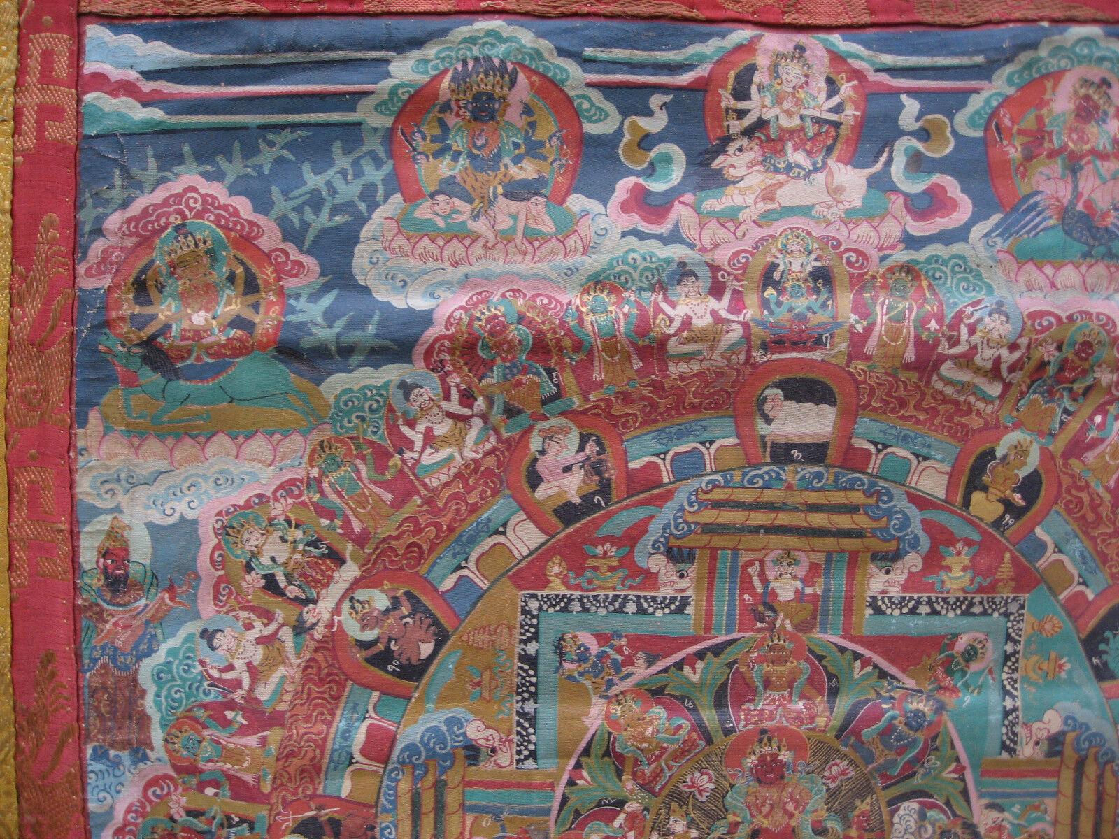 Antico More Then 100 Anni di Età Età Età Newari Surya Mandala Thangka Pauwa , Nepal ecedd8