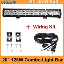 20INCH 126W CREE Led Light Bar Work Driving Offroad Combo beam with wiring kit