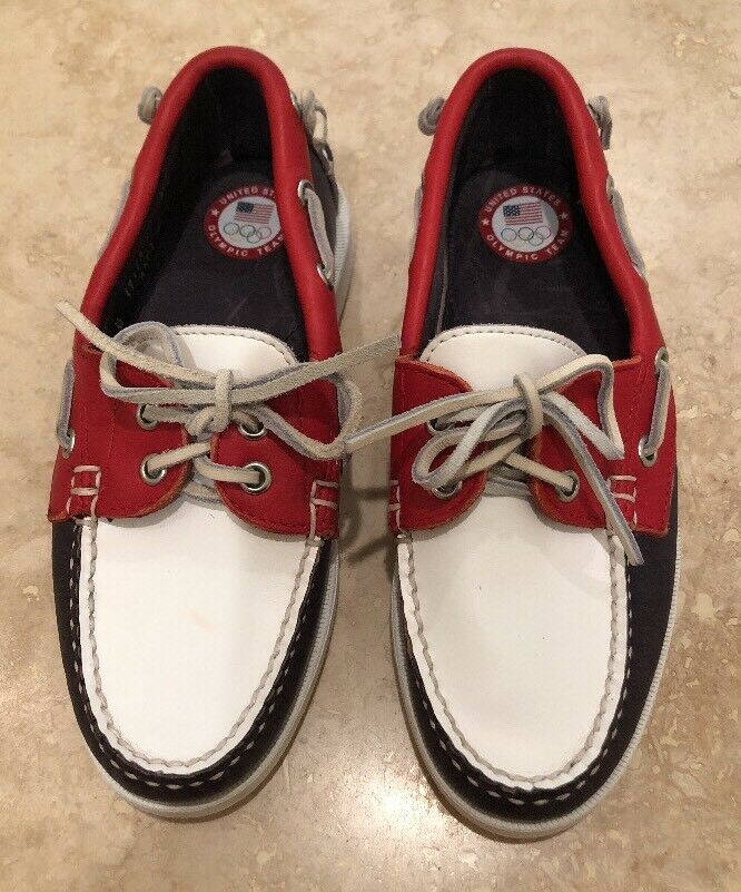 RALPH LAUREN United States Olympic Team Nautical Deck shoes Made In USA 5B RARE