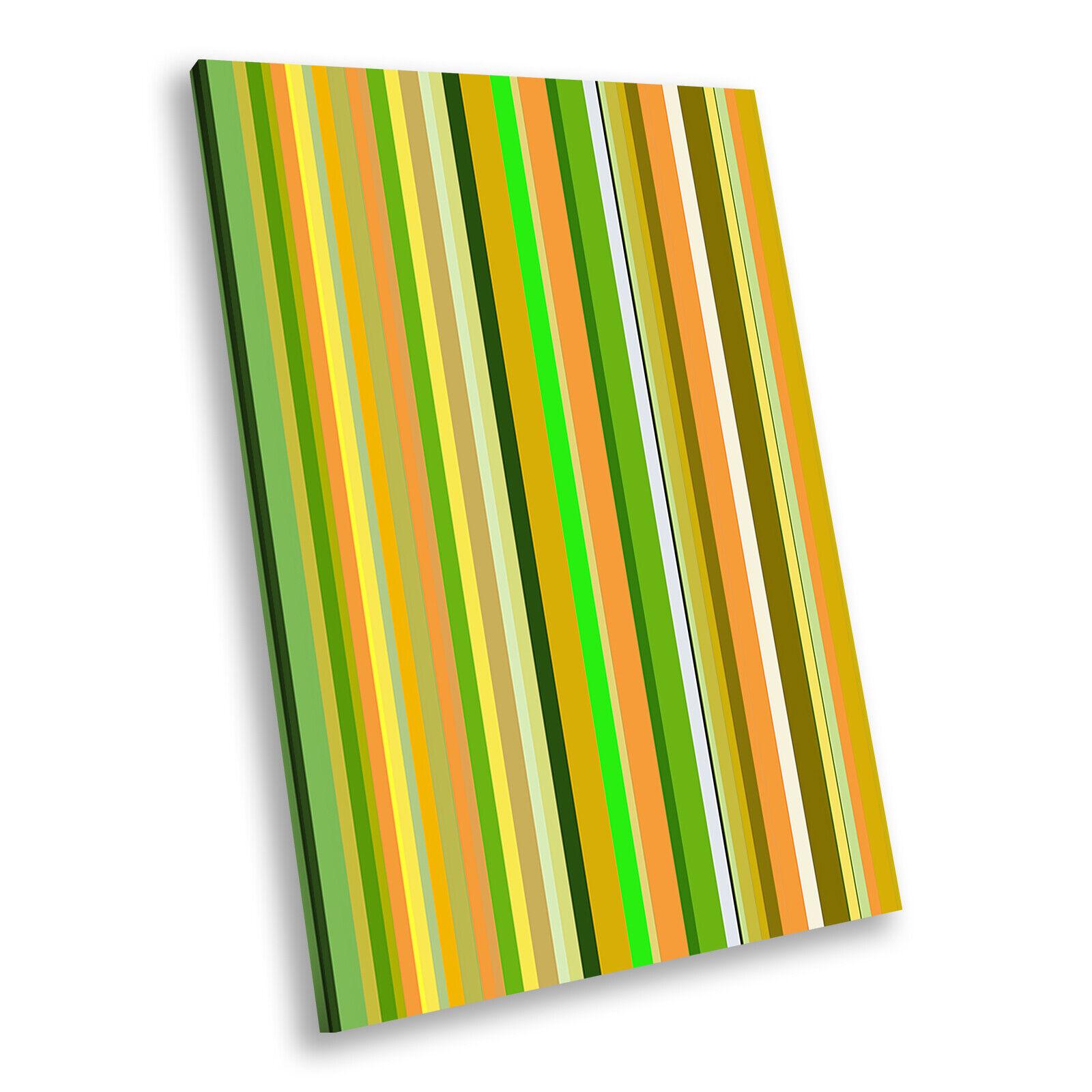 Grün Orange Stripes Portrait Abstract Canvas Wall Art Large Picture Prints