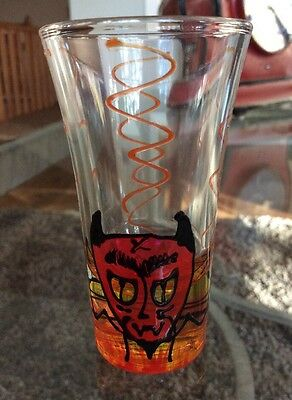 """Frenzy Hand Painted DAY OF THE DEAD /""""Diablo/"""" Devil Shot Glass Signed Retired NOS"""