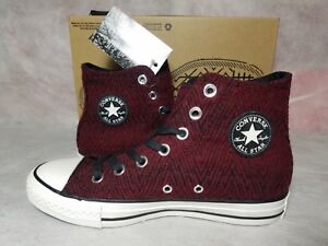 Details about New Converse Chuck Taylor All Star Hi Women 6 Red Wool Deep Bordeaux White Shoe