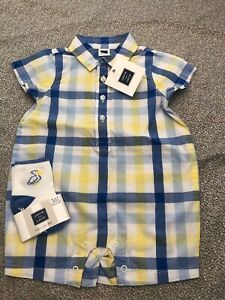 NWT-Janie-and-Jack-boy-EASTER-2-piece-pelican-plaid-romper-SET-0-3-6-12-18-24