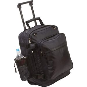 Black-Motorcycle-Rolling-Trunk-Bag-Men-Saddlebag-Sissy-Bar-Bookbag-Trolley-Case