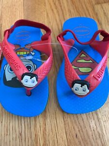 3dd25bd7b60d4b Details about Havaianas Baby Size 5 12 Mo NWT Size 19 Blue Casual Superman Flip  Flops