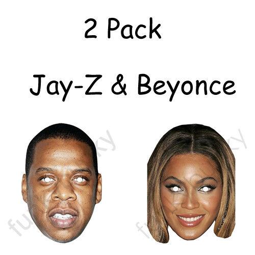 Lot de 2 Jay-Z /& BEYONCE Célébrité Carte Masques-Tous nos masques sont Pré-Coupé!