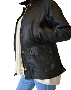 Women-039-s-Barbour-Bedale-WAX-JACKET-noir-diverses-tailles-disponibles-bbjk-004