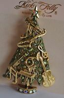 Kirks Folly Christmas Musical Tree Pin/converter In Gold Tone