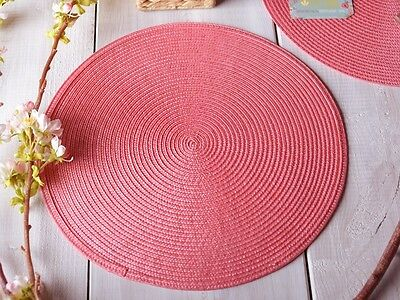 IZA PEARL COLLECTION 'Garden Party Cha Cha' CORAL PINK WOVEN PLACEMAT