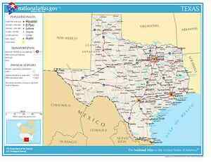 Texas State Reference Laminated Wall Map