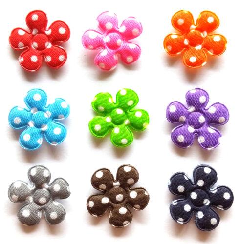100 pcs Mix colors dot Flower padded appliques size 20 mm