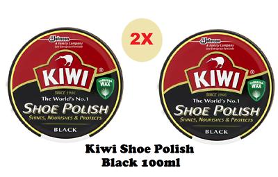 Kiwi Pomada Negro 100 ml Estaño Brillador nutre & Protector De Cera Bota De Cuero