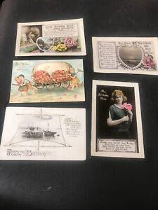 Postcard-Greetings-Birthday-Embossed-ships-Ladies-Lot-Of-5-G01