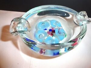 Details about ST CLAIR CONTROLLED BUBBLE GLASS ASHTRAY ~ PAPERWEIGHT ~  BLUE/ASSORTED