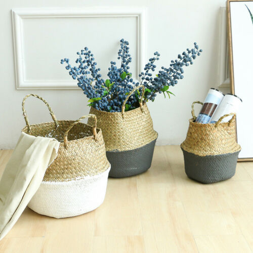 Storage Basket Rattan Straw Wicker Folding Flower Pot Seagrasss Garden Plan HDUK