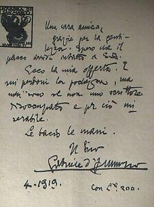 GABRIELE D'ANNUNZIO SQUADRA DI SAN MARCO LETTERE BIGLIETTO A UNA AMICA COPY1919