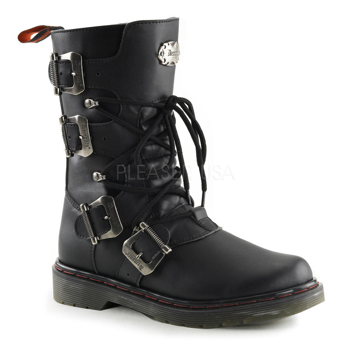 Grandes zapatos con descuento Demonia Disorder 306 Ladie Combat Boot Black Punk Rock Biker Buckle Strap Shaft