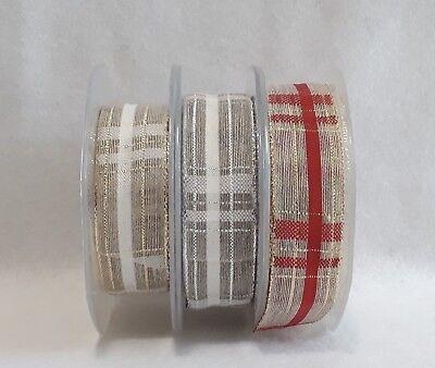 Nastro decorativo Natale retina packaging misto lino scozzese 1 metro
