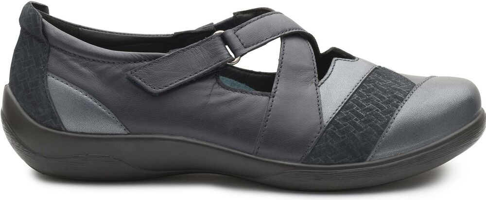 Acheter Pas Cher Padders Basset Femme En Cuir Double Extra Large (2e/3e) Chaussures Confort Bleu Marine