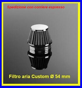 Filtro Power Filters chrome Streetfigther aria moto custom bobber ø54mm. 29-2154