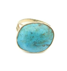 Turquoise-Blue-Oval-Ring-14K-Yellow-Gold-Size-6-1-2