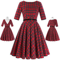Vintage Swing Work Evening Dress 40s 50s Retro Pin Up Plaids Checks Dresses