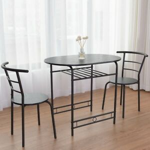 Details About 3 Pcs Dining Set Table And 2 Chairs Home Kitchen Breakfast Bistro Pub Furniture