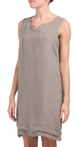 a779102c73 Lina Tomei 100% Pure Flax Linen Taupe Sleeveless Dress Made in Italy ...