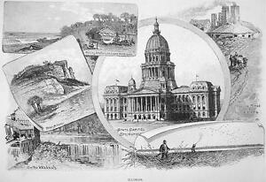 ILLINOIS-Views-in-State-Springfield-Capitol-100-Years-Old-Antique-Print