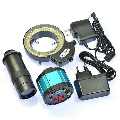 2.0MP VGA AV Industrial Microscope Camera C-mount Lens Video Recorder 144 LED