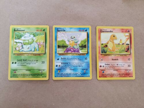 Starter pokemon cards Charmander Squirtle Bulbasaur Collectors Fan favorites